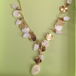 Mother of pearl gold statement necklace